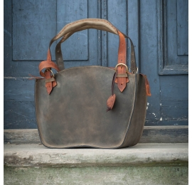 Unique handmade tote bag with a clutch khaki and orange colour natural leather