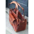 Tote bag with a pocket, a strap and a clutch cognac unique original bag