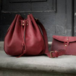 Maja bag in Raspberry colour perfect for summer with strap and small interior bag made by Ladybuq Art