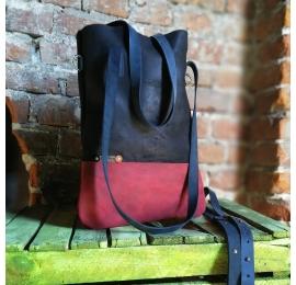 Worek skórzany ZOE ręcznie wykonany przez ladybuq art unikalna torba na zakupy