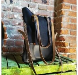 Worek skórzany ZOE w kolorze Czarnym unikalna torebka idealna na zakupy od Ladybuq Art Studio
