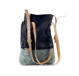Handmade hobo bag ZOE made out of fully natural leather in black and grey colours