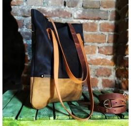 Worek skórzany ZOE w kolorach czarnym oraz whiskey torba idealna na zakypu i laptopa od Ladybuq Art Studio