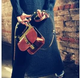 sac en cuir en 3 tailles de couleur gingembre avec des accents de citron vert fait par ladybuq art