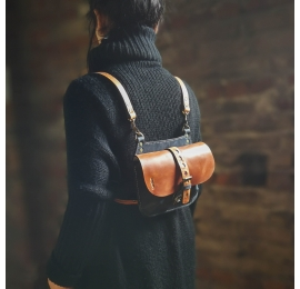 Small messenger leather  bag/ small backpack Molly