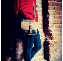 leather backpack in two colors made by ladybuq, handmade leather crossbody bag