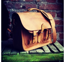 Messenger in whiskey colour handmade natural leather laptop office bag made by Ladybuq Art