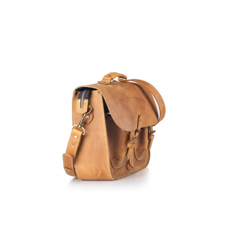 Messenger Laptop Bag Natural Leather Original Ladybuq Art