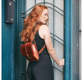 Leather backpack and purse Molly in 3 sizes - ginger color