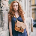 original leather vintage style purse in whiskey color, backpack handmade by ladybuq