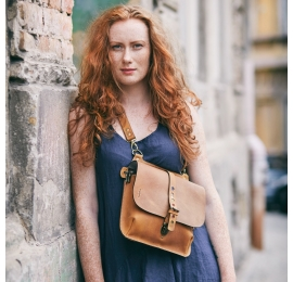 Leather purse in Whiskey color, backpack/crossbody bag Molly made by hand by Ladybuq Art