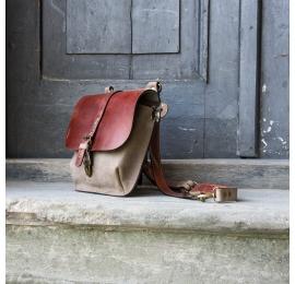 Torebka lub plecak Molly większy rozmiar kolor koniak i beż