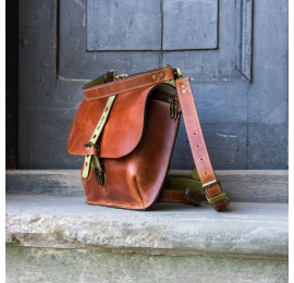 Leather handmade backpack with long shoulder strap, handy crossbody bag made by Ladybuq Art