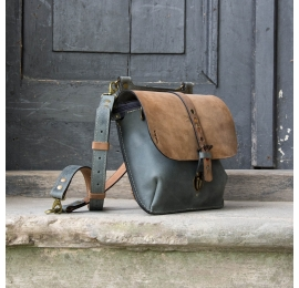 Crossbody bag and backpack in one in Brown/Grey color variation, real handmade natural leather purse