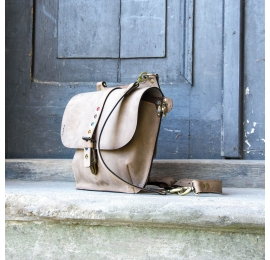 Leather backpack and shoulder bag in one, Molly in Beige color made by hand by Ladybuq Art