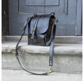 Leather backpack in Black color, handmade purse with long shoulder strap made by Ladybuq