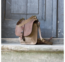 Comfortable leather bags in Brown/Beige color made by Ladybuq, leather handmade backpack