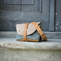 Fanny pack / cross body leather bag size L gray, beige and whiskey color