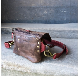 Fanny pack / cross body leather bag size L brown and raspberry
