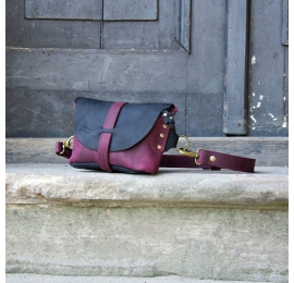 Fanny pack / cross body leather bag size L claret and navy blue