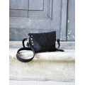 Fanny pack / cross body leather bag size L beetroot and navy blue