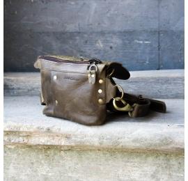 Fanny pack / cross body leather bag size L kolor khaki