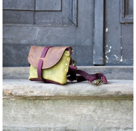 Fanny pack / cross body leather bag size L lime-brown and claret color