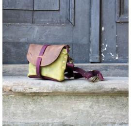 Nerka / torebka na ramię rozmiar L kolor brązowy, limonkowy i buraczkowy