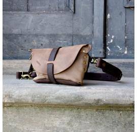 Nerka / torebka na ramię kolor brąz i beż rozmiar M