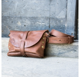 Fanny pack / cross body leather bag brown color  Size M