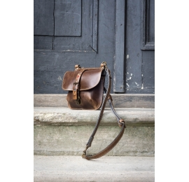 Leather backpack in Brown color, bag with shoulder strap made by Ladybuq Art