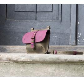 Mała Listonoszka skórzana / plecaczek Molly khaki /buraczkowy