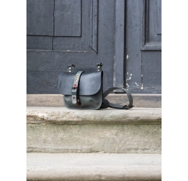Leather handmade backpack and crossbody bag mae out of natural leather in Black/Grey color variation