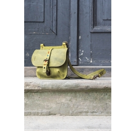Small messenger leather  bag/ small backpack Molly lime