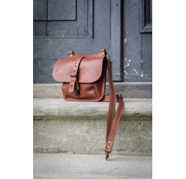 Original leather bag in Brown color, backpack with adjustable straps made by Ladybuq