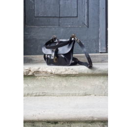 Black natural leather purse made by hand by Ladybuq Art