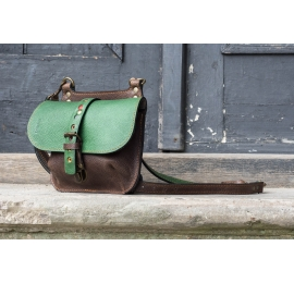 Original leather bag in Brown/Green color variation made by Ladybuq, handmade women backpack