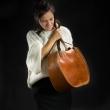 Leder Umhängetasche Basia von Ladybuq Kunst in Vintage-Stil Kamelfarbe gemacht