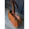 leather shoulder bag basia made by ladybuq art in vintage style camel color