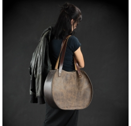 "Handmade leather bag ""Basia"" size L or L SLIM  Brown color"