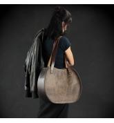brązowa skórzana torebka od ladybuq art, ręcznie wykonana torba w stylu vintage