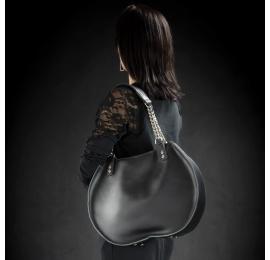 """Sac à main en cuir """"Basia"""" couleur Noir taille M sac à bandoulière unique et original fabriqué par le studio d'art Ladybuq"""