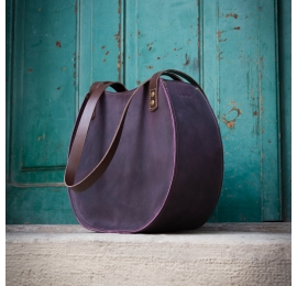 "Handmade natural leather ""Basia"" bag in plum colour made by Ladybuq Art Studio"