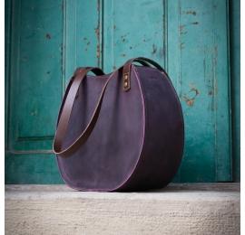 """Sac à main """"Basia"""" en cuir naturel de couleur prune fait à la main par Ladybuq Art Studio"""