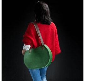 leather roomy woman purse made by Ladybuq, Basia bag in green color