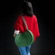 skórzana pojemna damska torebka od Ladybuq, torba Basia w kolorze zielonym