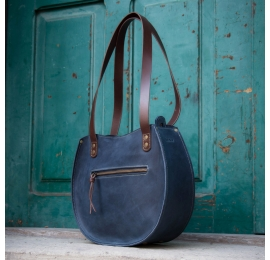 """Handmade leather bag """"Basia"""" color Navy Blue size S"""
