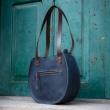 "Handmade leather bag ""Basia"" color Navy Blue size S original bag made by ladybuq art studio"