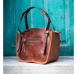 Handmade leather bag in minimalist vintage style with beautiful straps Kuferek
