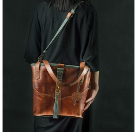 Leather handmade original bag Julia in Ginger color with Grey accents made by LadybuQ Art